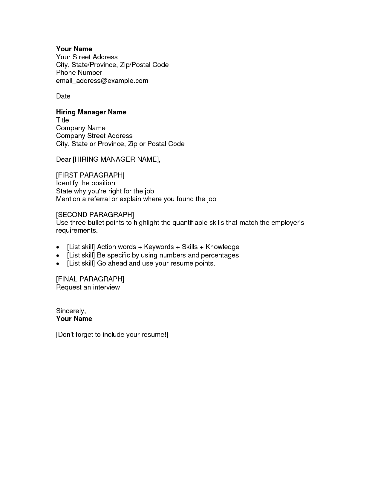 sample cover letter examples