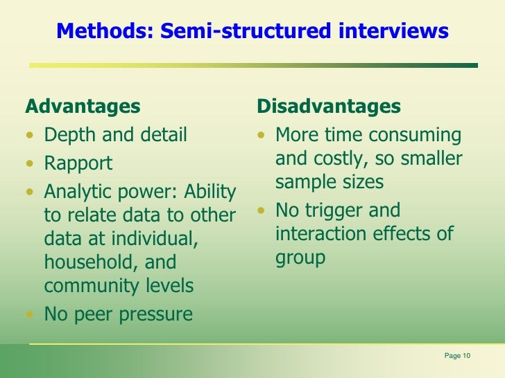 semi structured interview advantages and disadvantages pdf