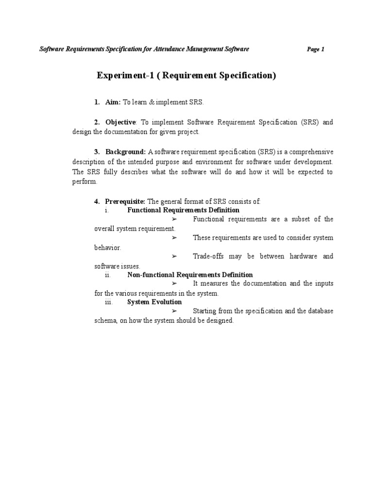 web application specification document