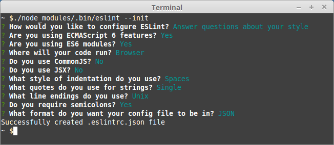 npm configure eslint use a popular style guide