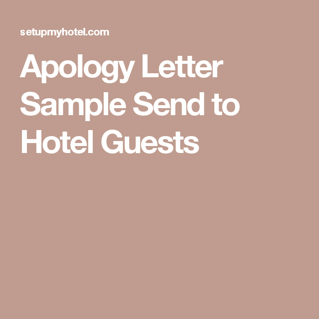 sample apology letter for hotel cancellation