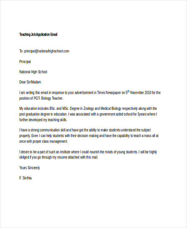 sample emails to employment with application